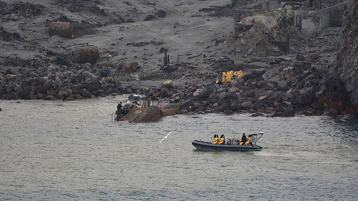 This photo released by the New Zealand Defence Force shows an operation to recover bodies from...