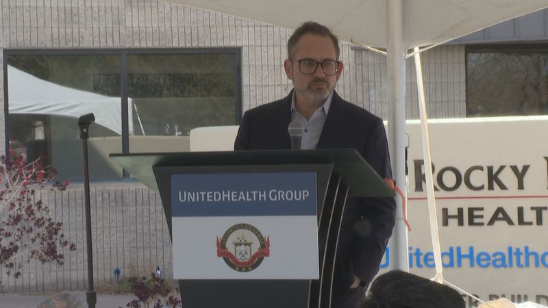 Rocky Mountain Health Plans CEO Patrick Gordon spoke at the event announcing the donation.