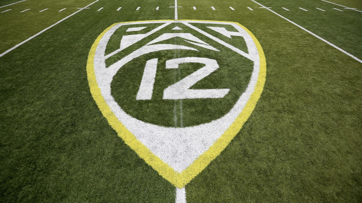 In this Oct. 10, 2015, file photo, a PAC-12 logo is displayed on the field before an NCAA college football game between Washington State and Oregon in Eugene, Ore. The Pac-12 university presidents and chancellors will meet Friday, Sept. 17, 2020, and be presented options for staging a fall football season, but Commissioner Larry Scott says a vote by the the CEO Group is not expected.