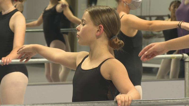 Kaitlynn Olds, above, shown at a ballet practice on Tues., Oct. 5.