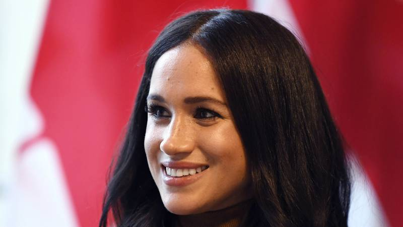 In this Tuesday, Jan. 7, 2020 file photo, Meghan, Duchess of Sussex smiles during her visit...
