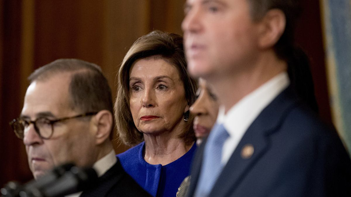 House Speaker Nancy Pelosi of Calif., center, and Chairman of the House Judiciary Committee...