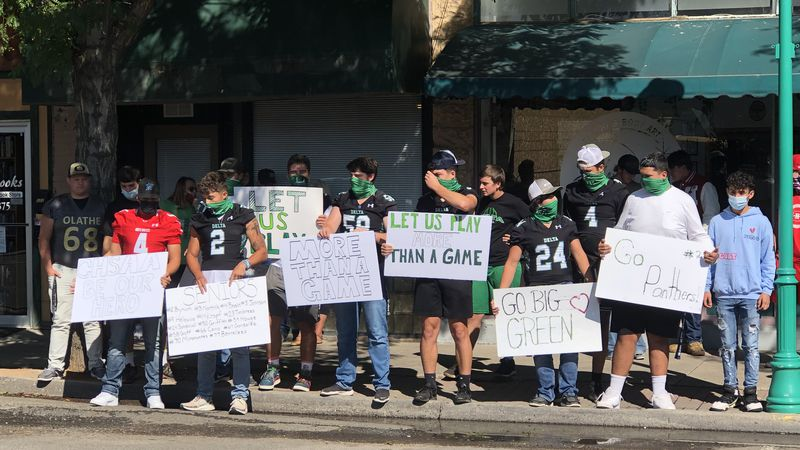 Football players protest against CHSAA's decision to play in the spring