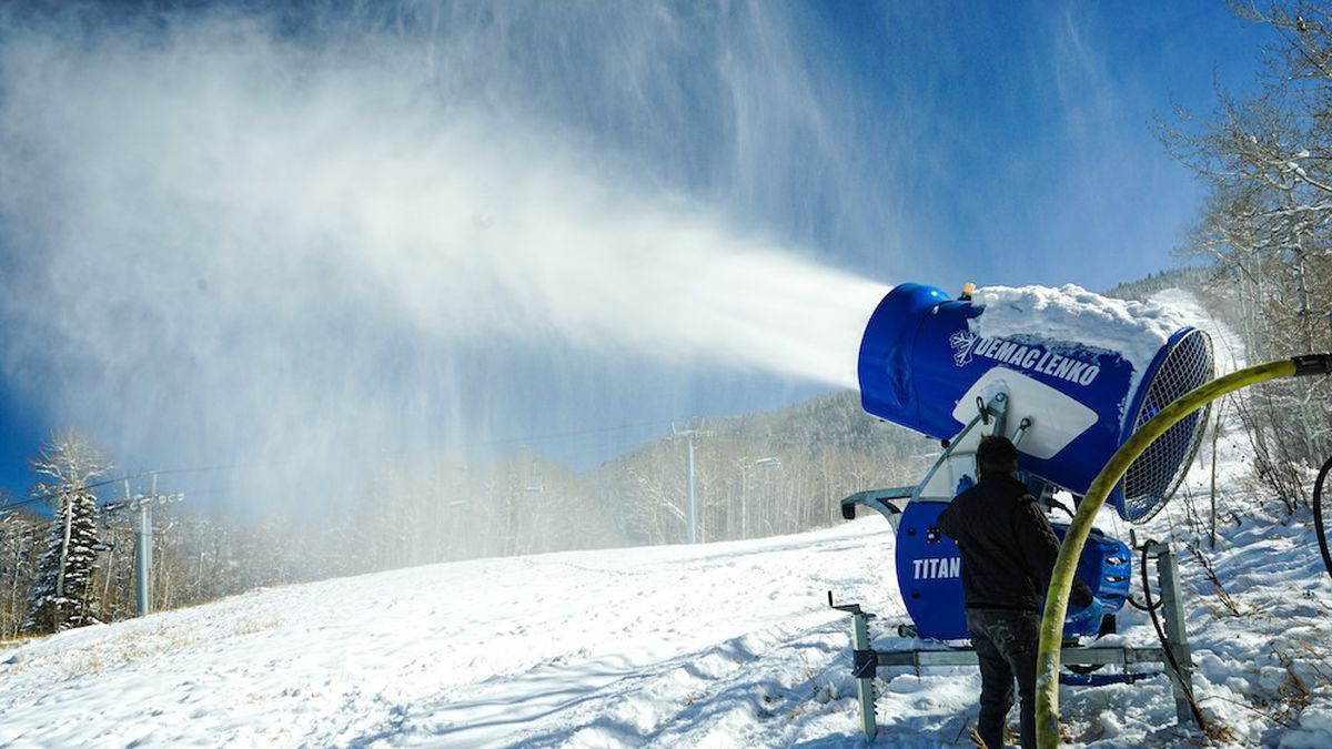 Photo from Oct. showing snowmaking machine