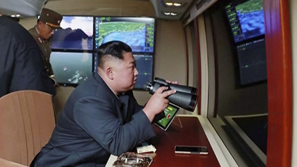 In this image made from video of a still image broadcast by North Korea's KRT on Thursday, Aug....