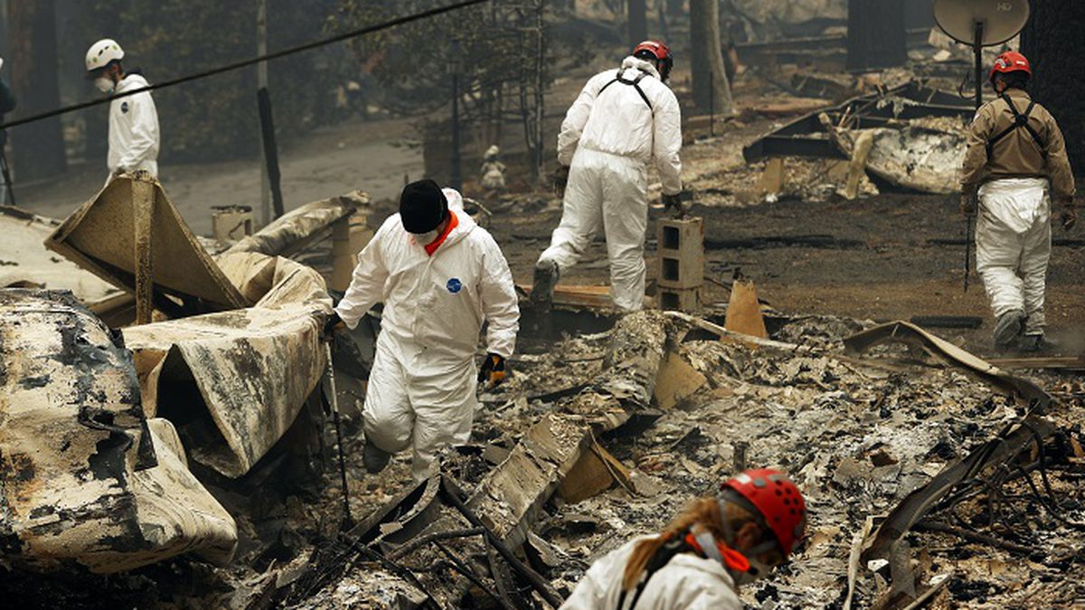 In this Nov. 13, 2018, file photo, search and rescue workers search for human remains at a trailer park burned out from the Camp Fire in Paradise, Calif. Pacific Gas & Electric officials are to be expected to appear in court Tuesday, June 16, 2020, to plead guilty for the deadly wildfire that nearly wiped out the Northern California town of Paradise in 2018. (Source: AP Photo/John Locher, File)