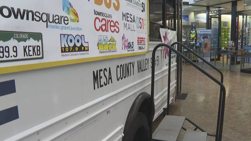 Those interested in donating can drop off supplies inside the bus parked at the Mesa Mall.