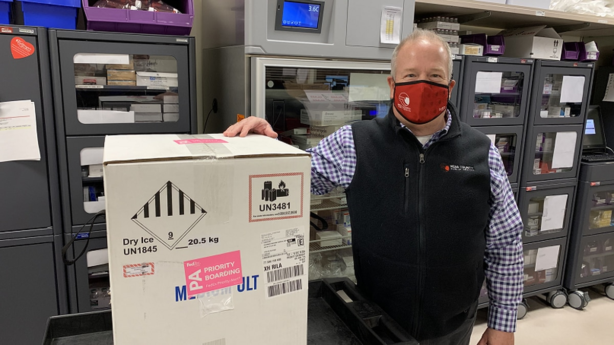 Pictured above, Jeff Kuhr, Executive Director of Mesa County Public Health, with the shipment...