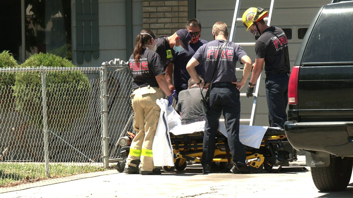 Grand Junction Firefighters came to the rescue of an adult male who got stuck on his roof on...