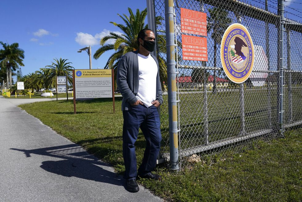 Kareen Troitino stands outside the Federal Corrections Institution, Friday, March 12, 2021, in...