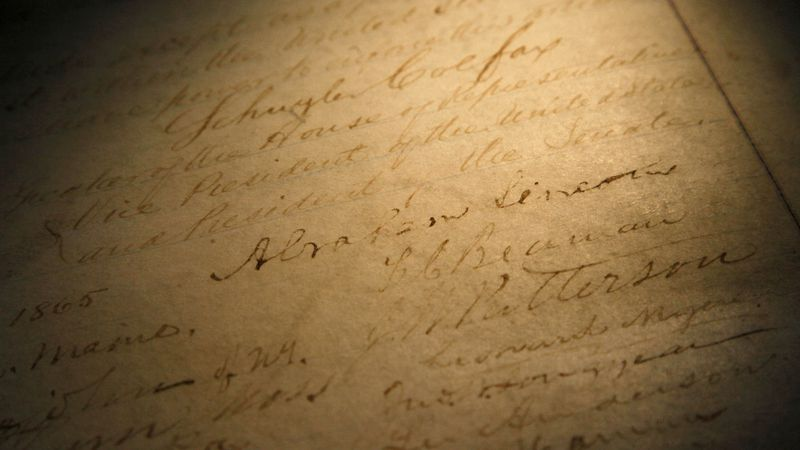 FILE - This Nov. 29, 2011, file photo shows the signature of president Abraham Lincoln on a...