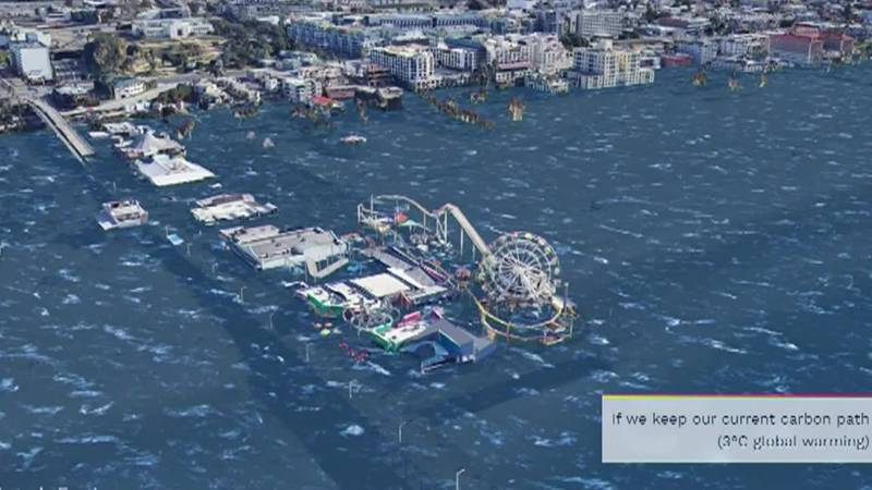This model shows the Santa Monica Boardwalk underwater, projections climate scientists say...