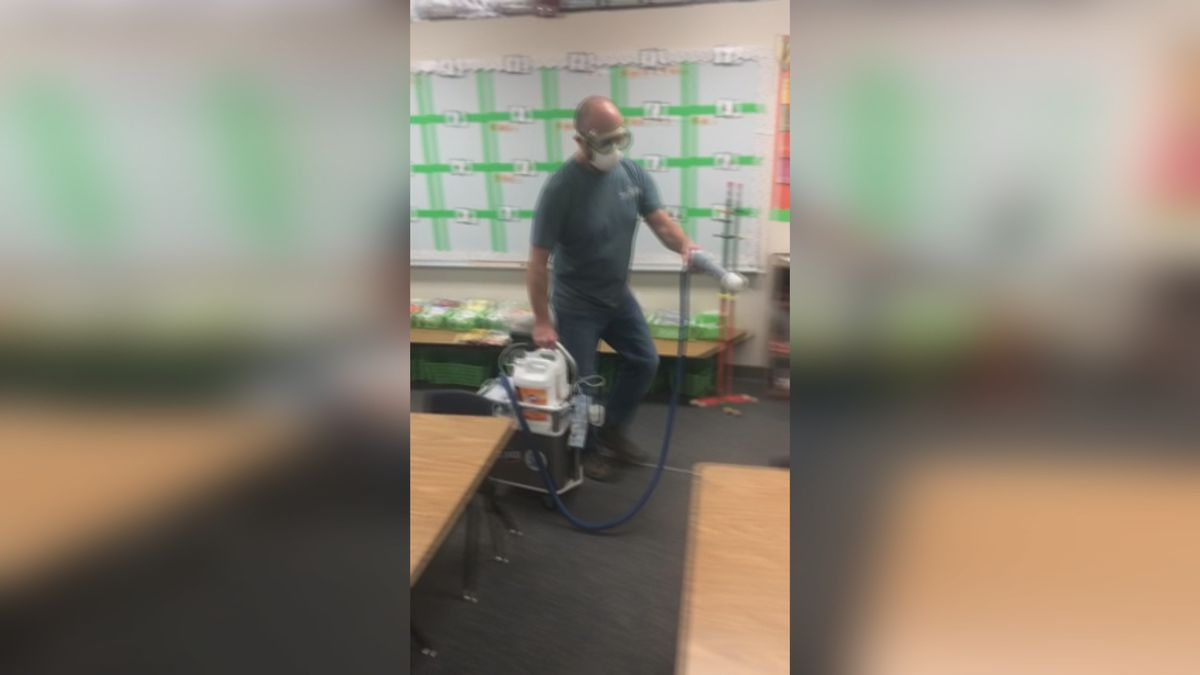 District 51 cleaning a classroom