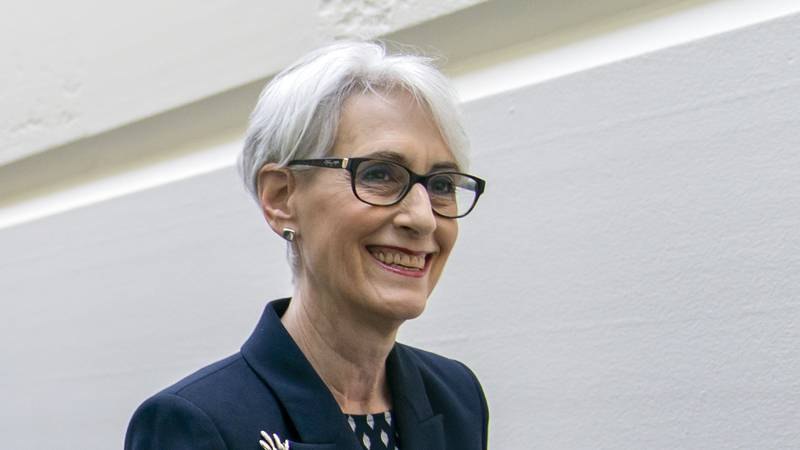 FILE - In this May 21, 2019, file photo Wendy Sherman arrives to meet with Speaker of the House...