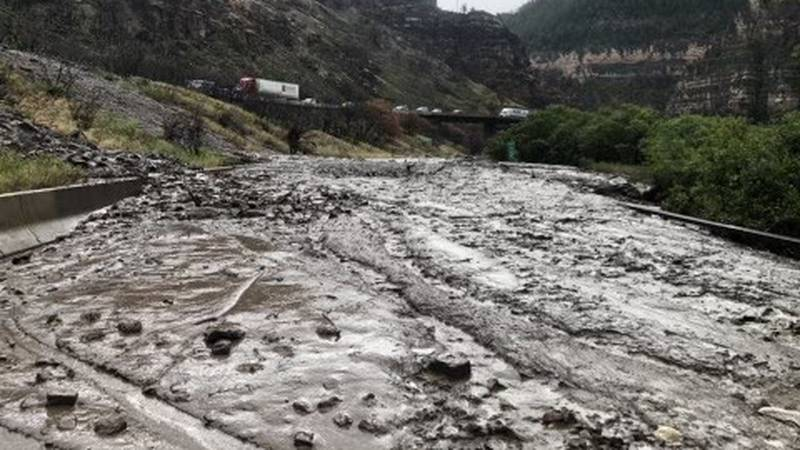 I-70 in Glenwood Canyon is closed in both directions this evening to to a mudslide just east of...