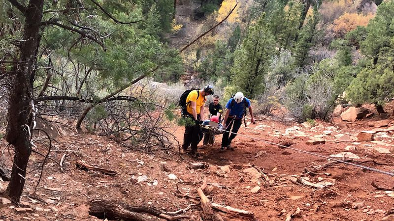 Mesa County Search and Rescue carries injured climber in Little Dominguez Canyon.