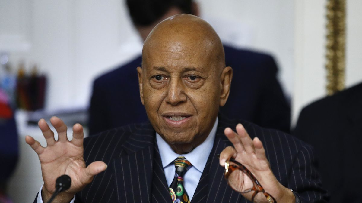 FILE - In this Dec. 17, 2019 file photo, Rep. Alcee Hastings, D-Fla., speaks during a House...