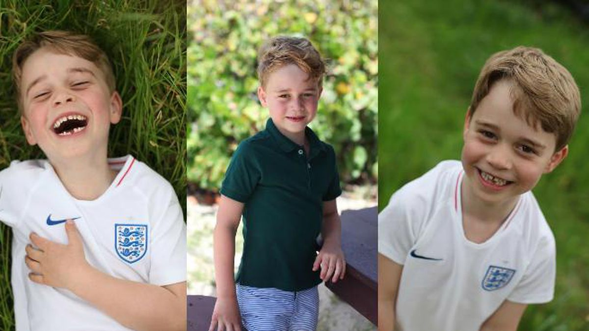 In two of the pictures, George is seen with a big smile as he wears an English soccer jersey. The third shows him on a family holiday. (Source: Buckingham Palace)