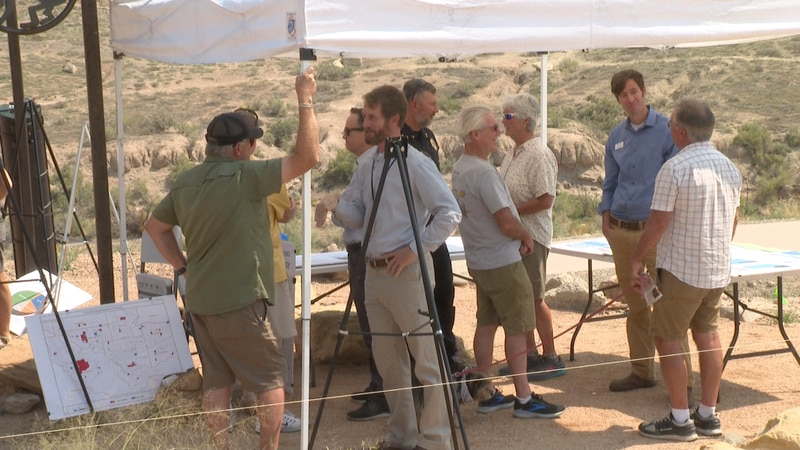 Community meets with different representatives at Lunch Loop Trailhead